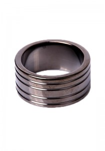 Black Steel Cockring Ribbed - Front